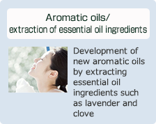 Aromatic oils/extraction of essential oil ingredients: Development of new aromatic oils by extracting essential oil ingredients such as