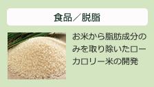 食品/脱脂:お米から脂肪成分のみを取り除いたローカロリー米の開発
