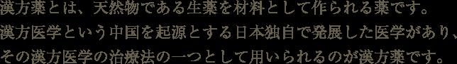 漢方薬とは、天然物である生薬を材料として作られる薬です。漢方医学という中国を起源とする日本独自で発展した医学があり、その漢方医学の治療法の一つとして用いられるのが漢方薬です